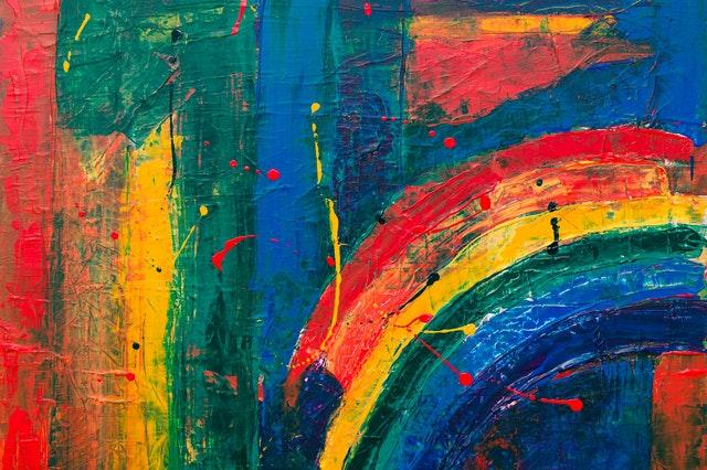 barevná stěna, duha